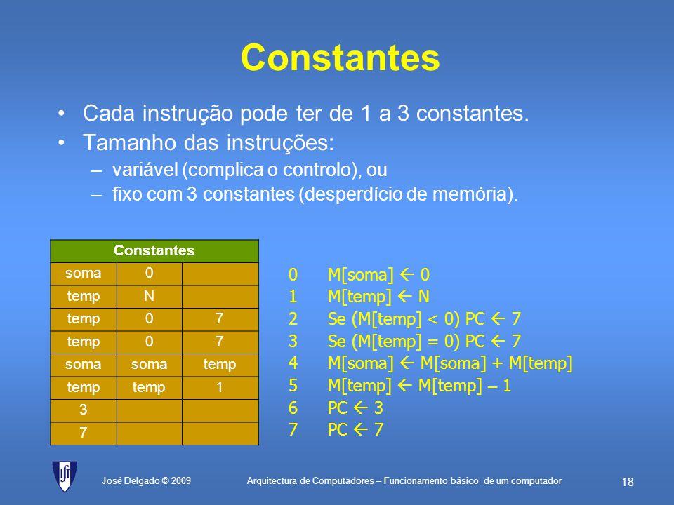 Constantes Cada instrução pode ter de 1 a 3 constantes.