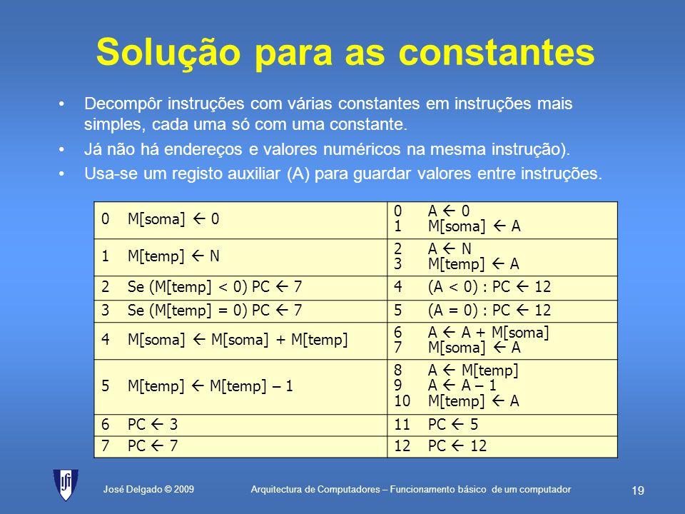 Solução para as constantes