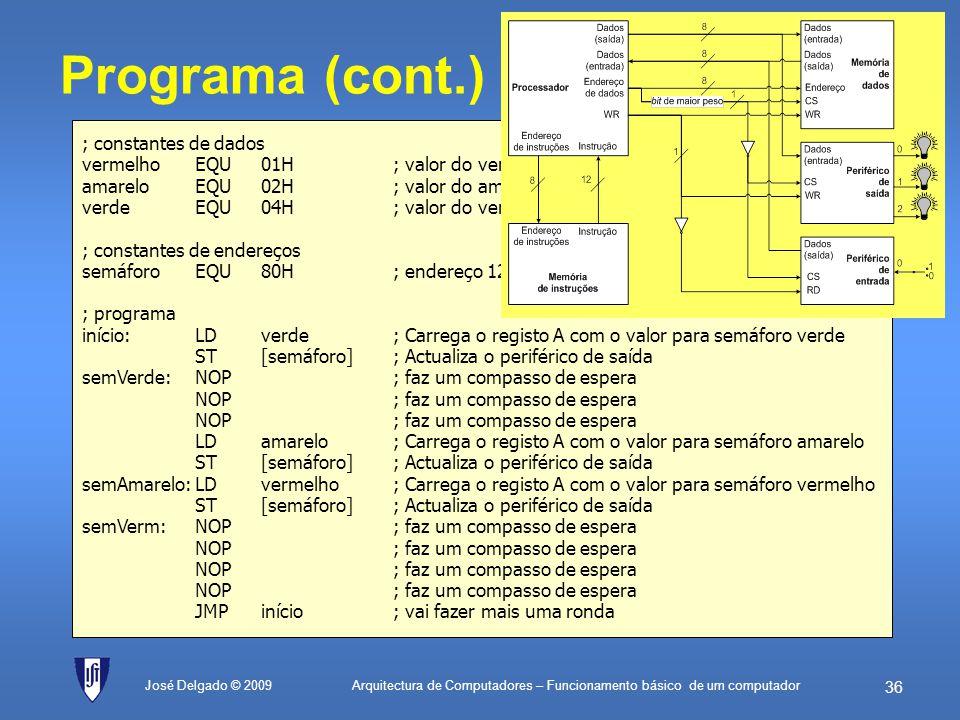 Programa (cont.) ; constantes de dados