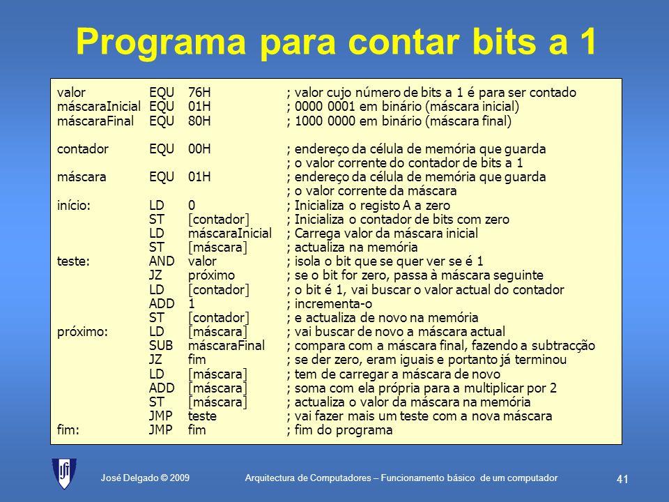 Programa para contar bits a 1