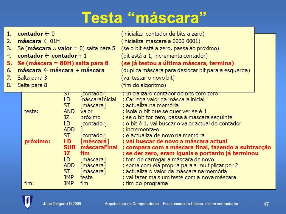 Testa máscara 1. contador  0 (inicializa contador de bits a zero)