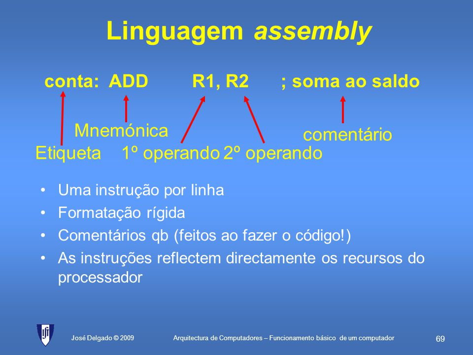 Linguagem assembly conta: ADD R1, R2 ; soma ao saldo Mnemónica