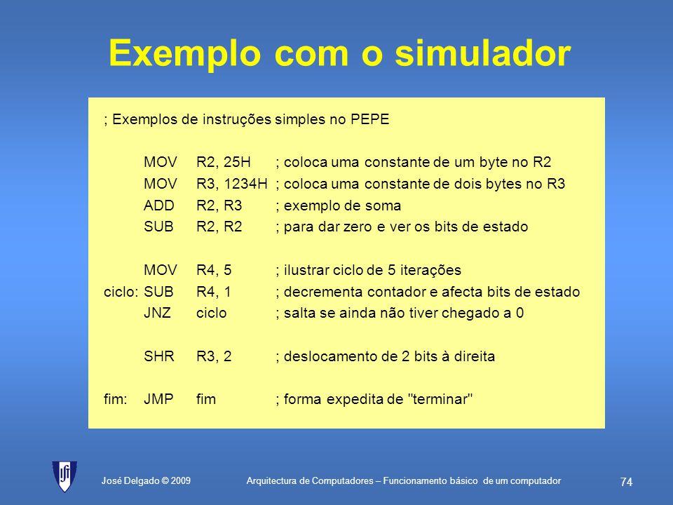Exemplo com o simulador