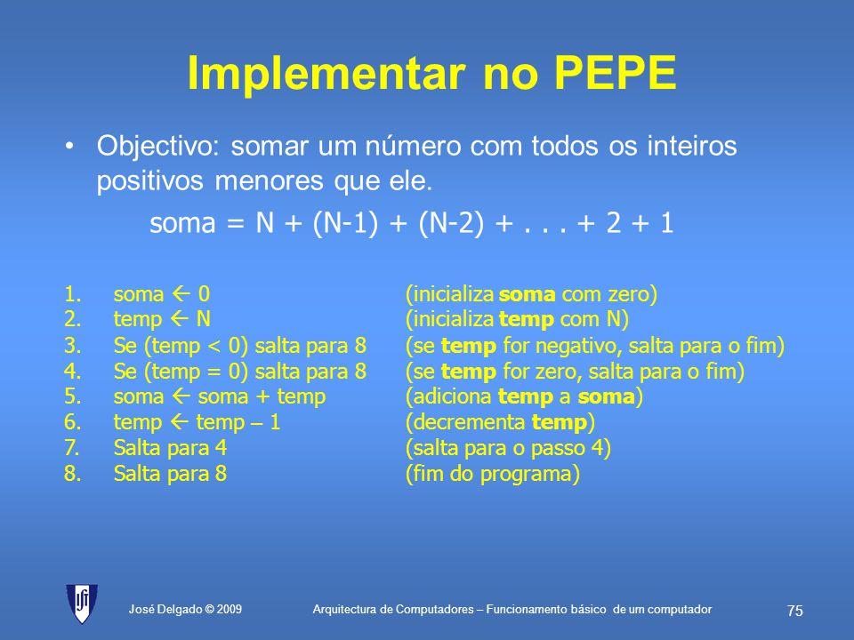 Implementar no PEPE soma = N + (N-1) + (N-2) + . . . + 2 + 1