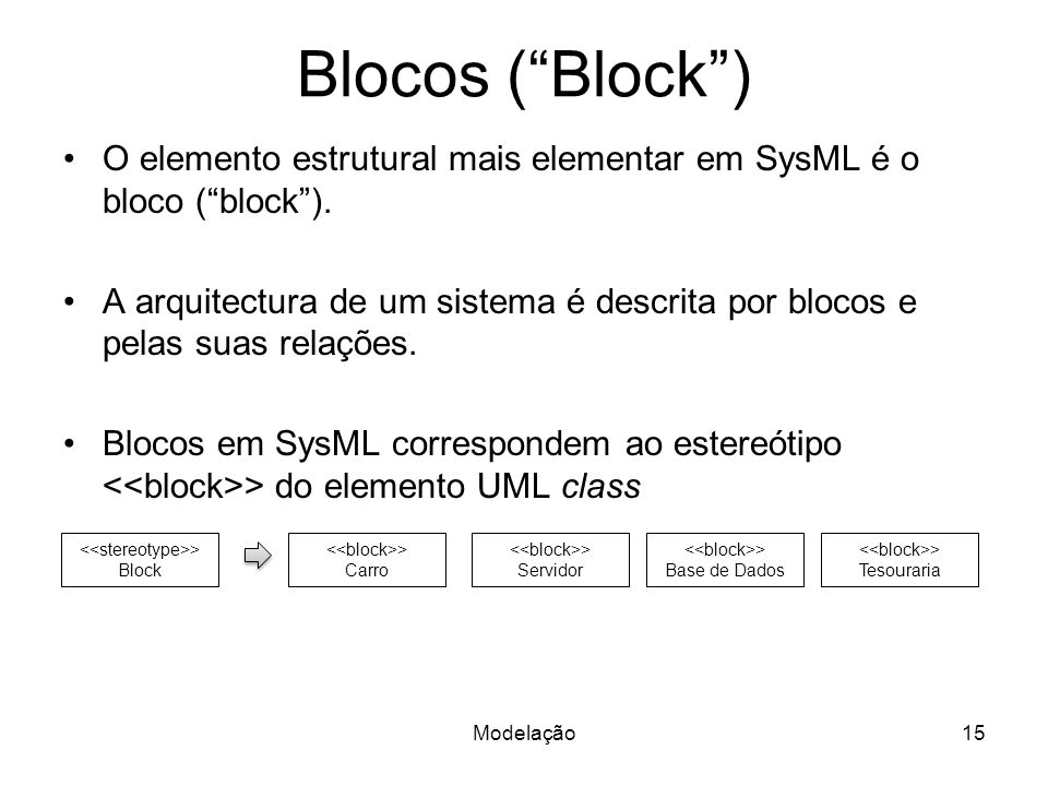 Blocos ( Block ) O elemento estrutural mais elementar em SysML é o bloco ( block ).