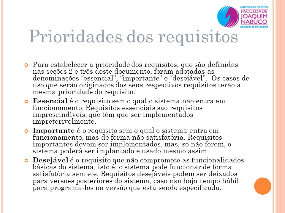 Prioridades dos requisitos