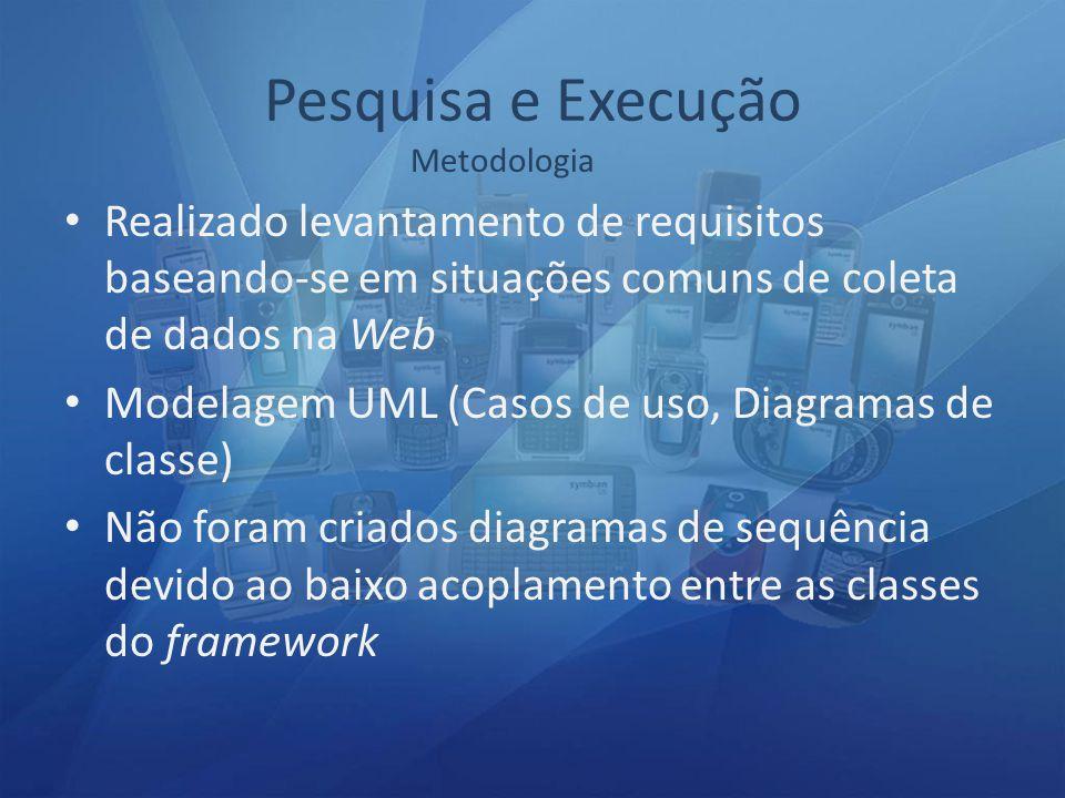 Pesquisa e Execução Metodologia. Realizado levantamento de requisitos baseando-se em situações comuns de coleta de dados na Web.