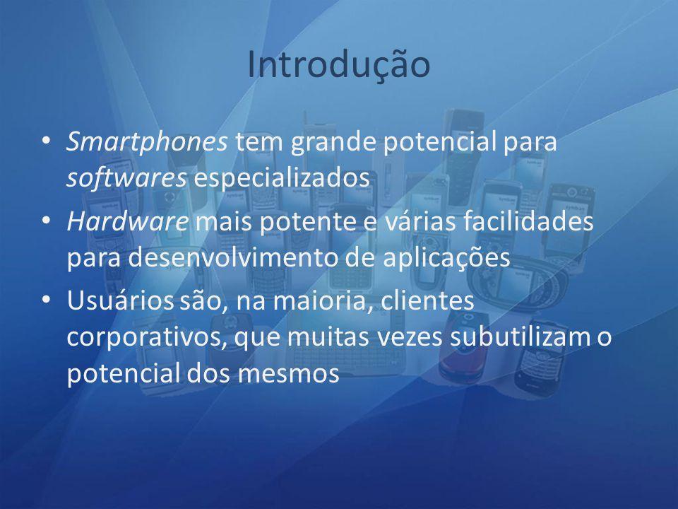 Introdução Smartphones tem grande potencial para softwares especializados.