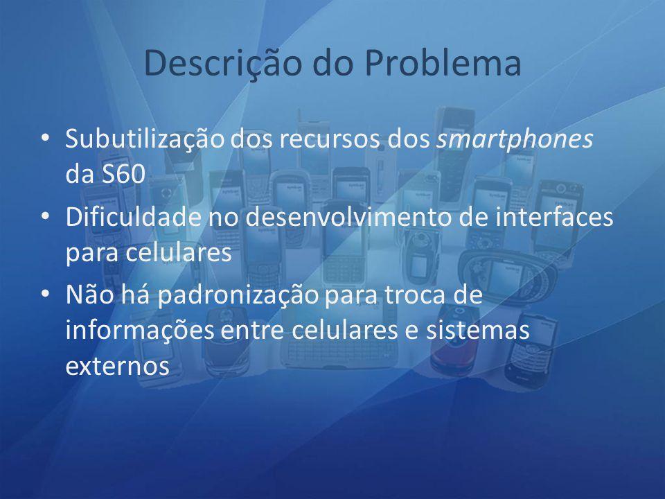 Descrição do Problema Subutilização dos recursos dos smartphones da S60. Dificuldade no desenvolvimento de interfaces para celulares.