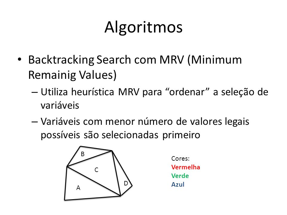 Algoritmos Backtracking Search com MRV (Minimum Remainig Values)
