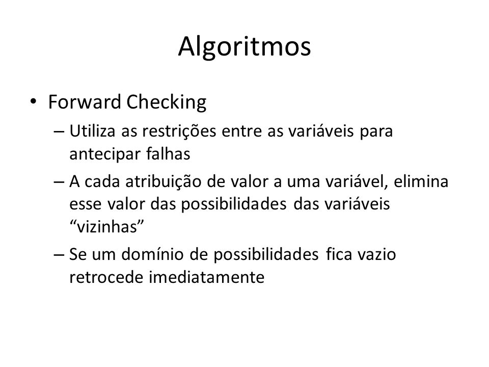 Algoritmos Forward Checking