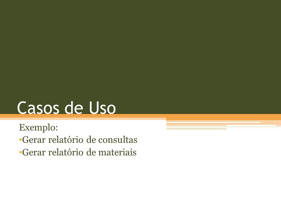 Exemplo: Gerar relatório de consultas Gerar relatório de materiais