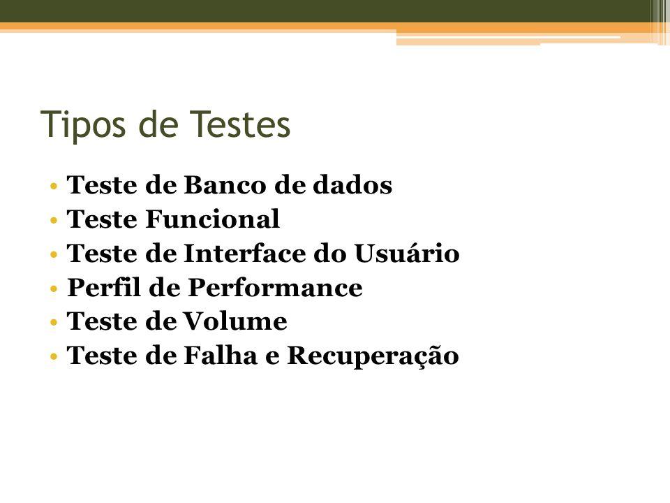 Tipos de Testes Teste de Banco de dados Teste Funcional