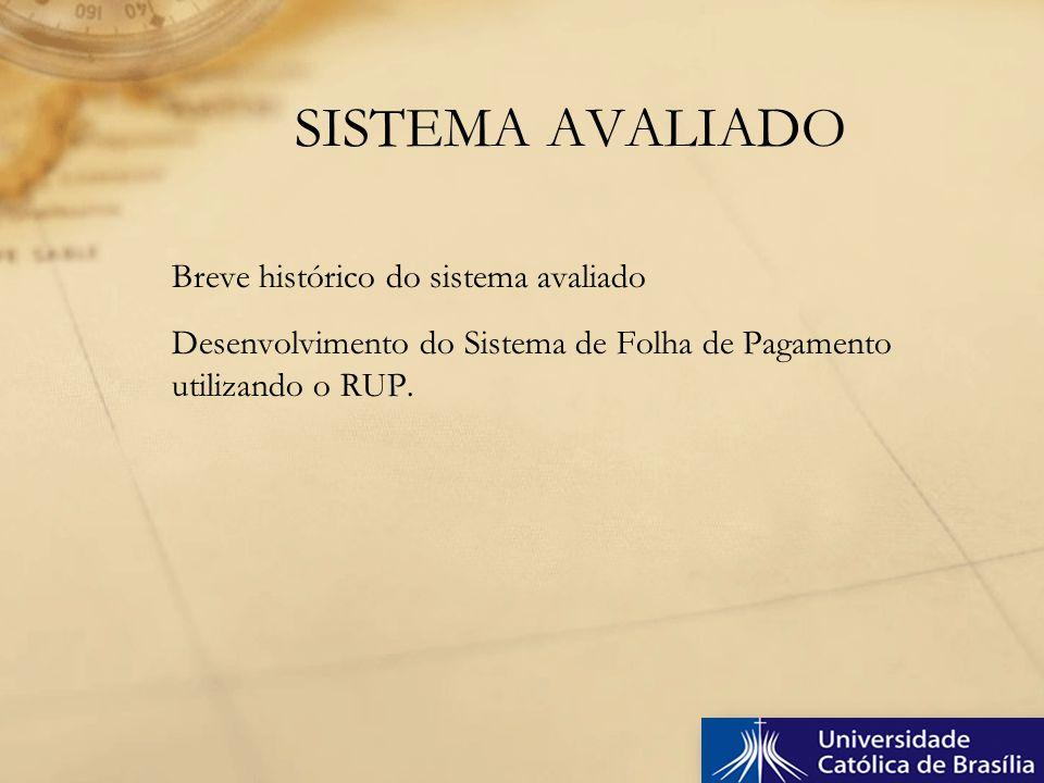 SISTEMA AVALIADO Breve histórico do sistema avaliado