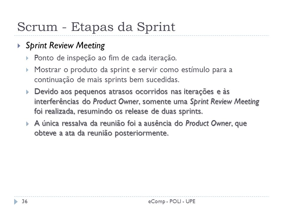 Scrum - Etapas da Sprint