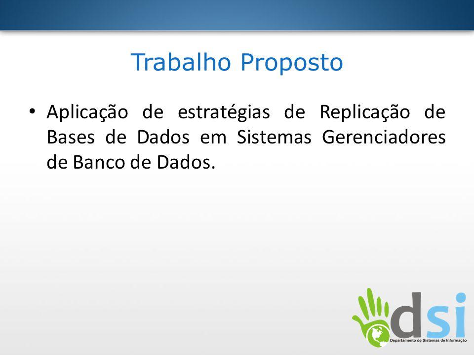 Trabalho Proposto Aplicação de estratégias de Replicação de Bases de Dados em Sistemas Gerenciadores de Banco de Dados.