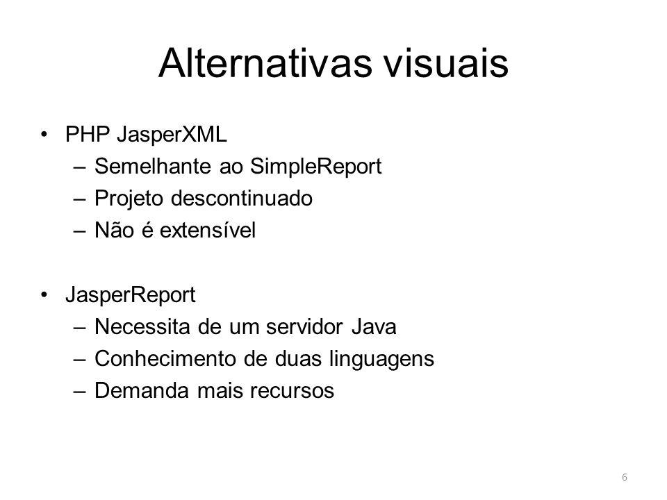Alternativas visuais PHP JasperXML Semelhante ao SimpleReport