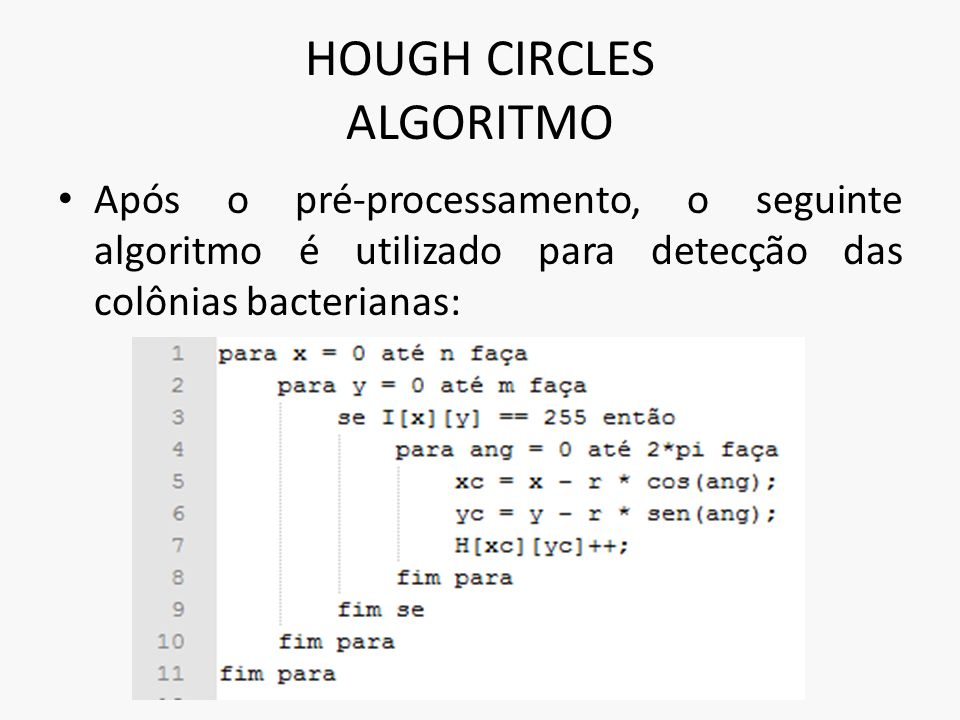 HOUGH CIRCLES ALGORITMO