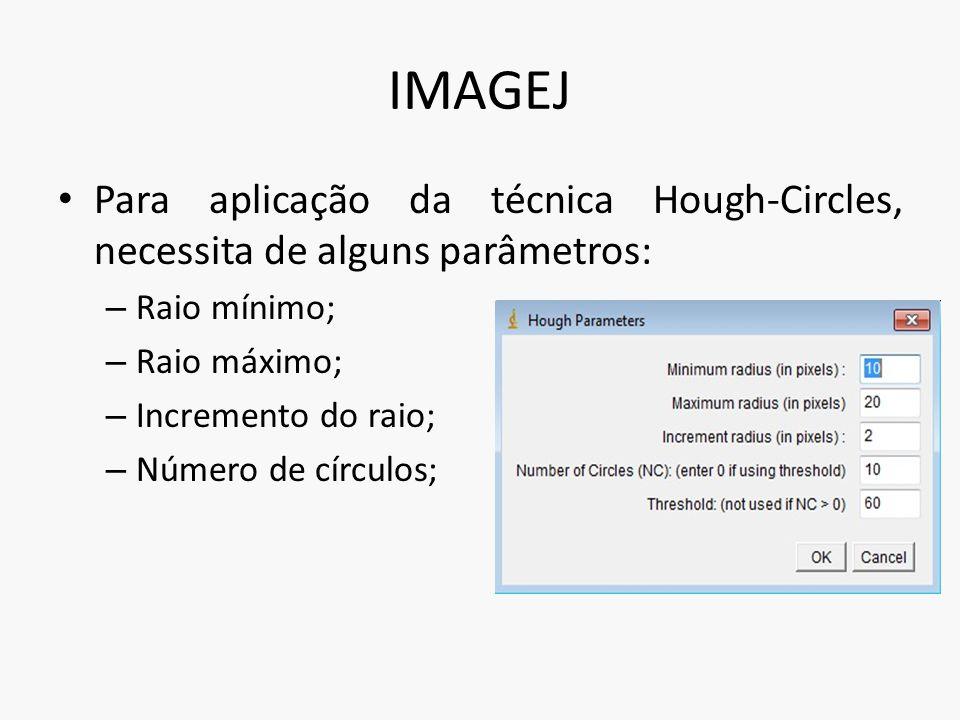 IMAGEJ Para aplicação da técnica Hough-Circles, necessita de alguns parâmetros: Raio mínimo; Raio máximo;