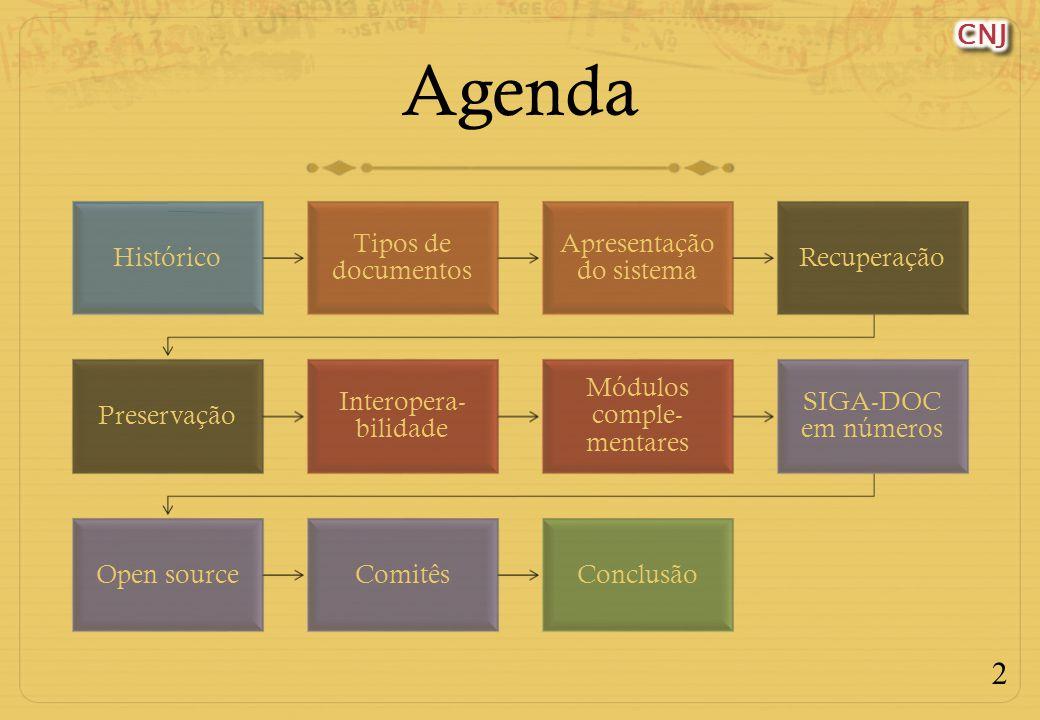 Agenda Histórico Tipos de documentos Apresentação do sistema