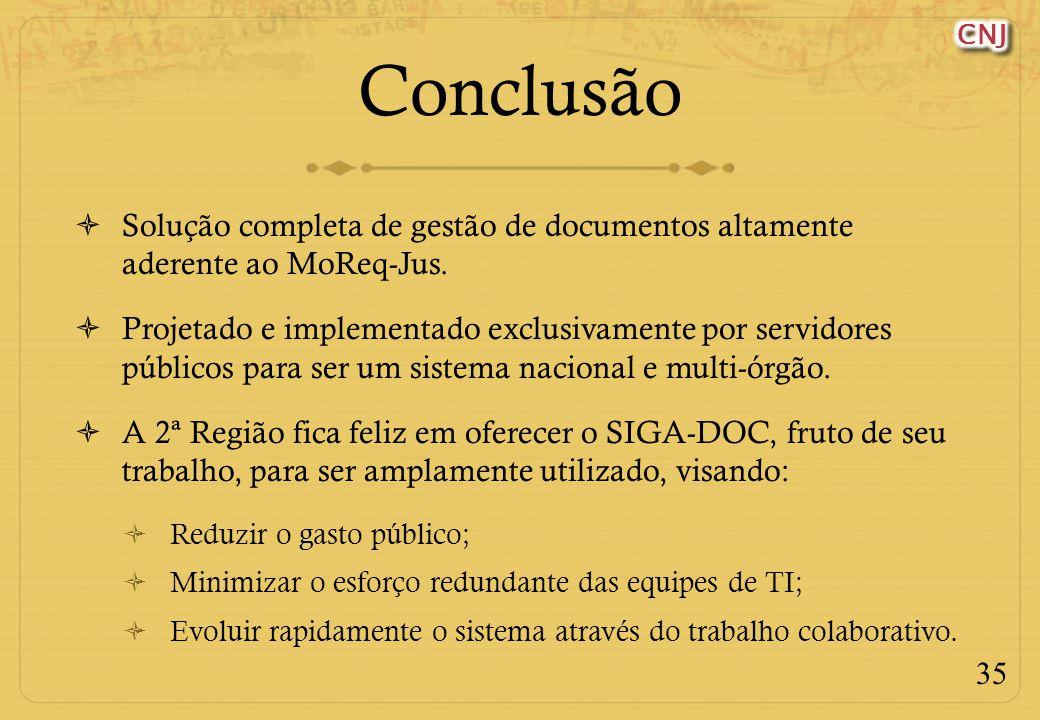 Conclusão Solução completa de gestão de documentos altamente aderente ao MoReq-Jus.