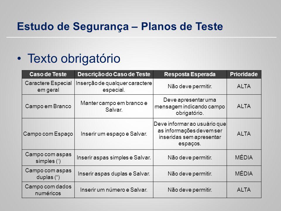 Estudo de Segurança – Planos de Teste