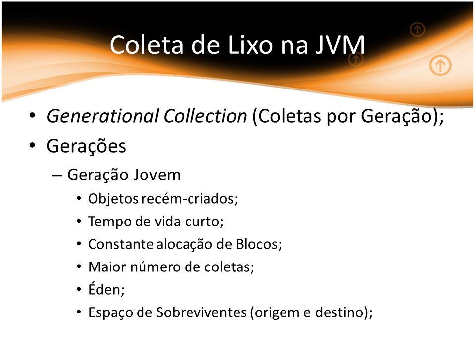 Coleta de Lixo na JVM Generational Collection (Coletas por Geração);