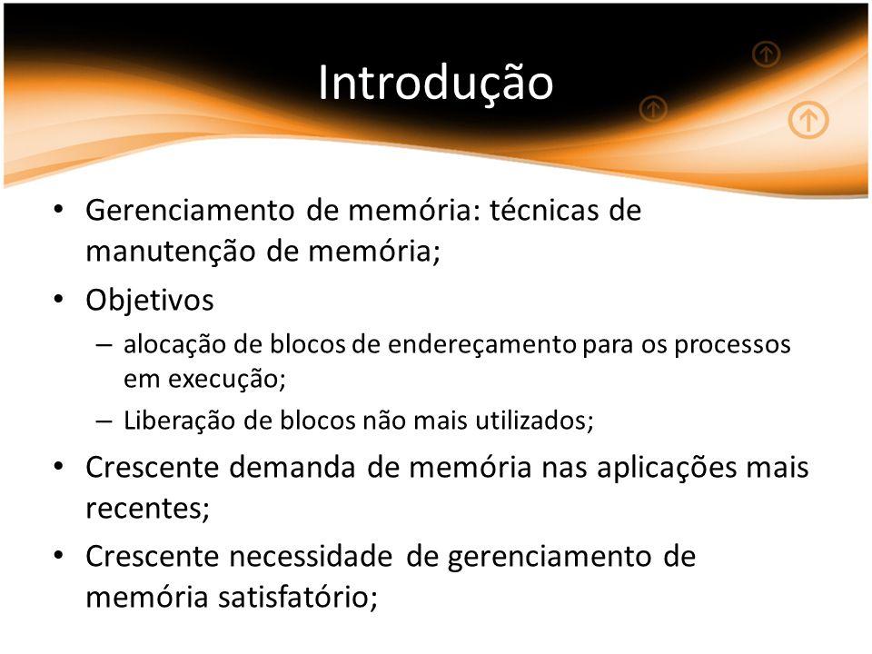 Introdução Gerenciamento de memória: técnicas de manutenção de memória; Objetivos.