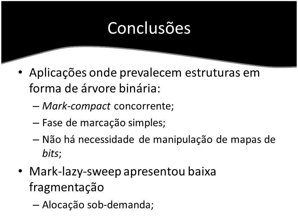 Conclusões Aplicações onde prevalecem estruturas em forma de árvore binária: Mark-compact concorrente;