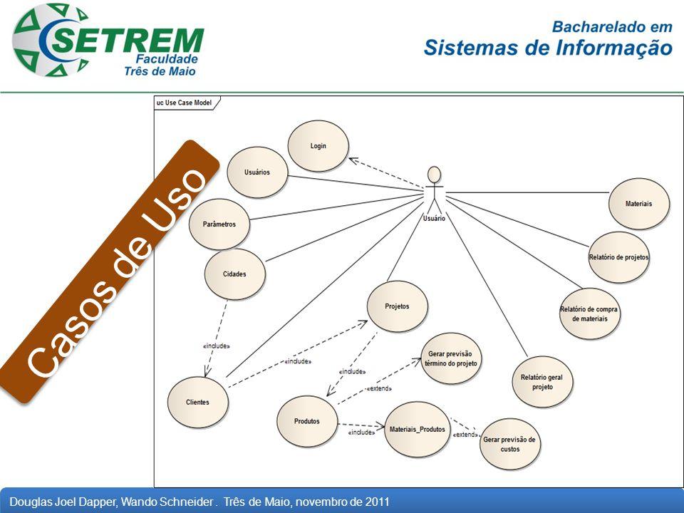 Casos de Uso Descreve o sistema genericamente, dando uma perspectiva global de como o sistema funciona.