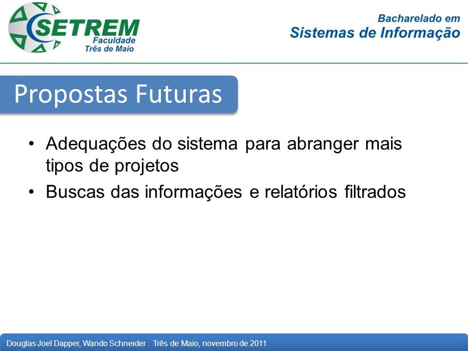 Propostas Futuras Adequações do sistema para abranger mais tipos de projetos.