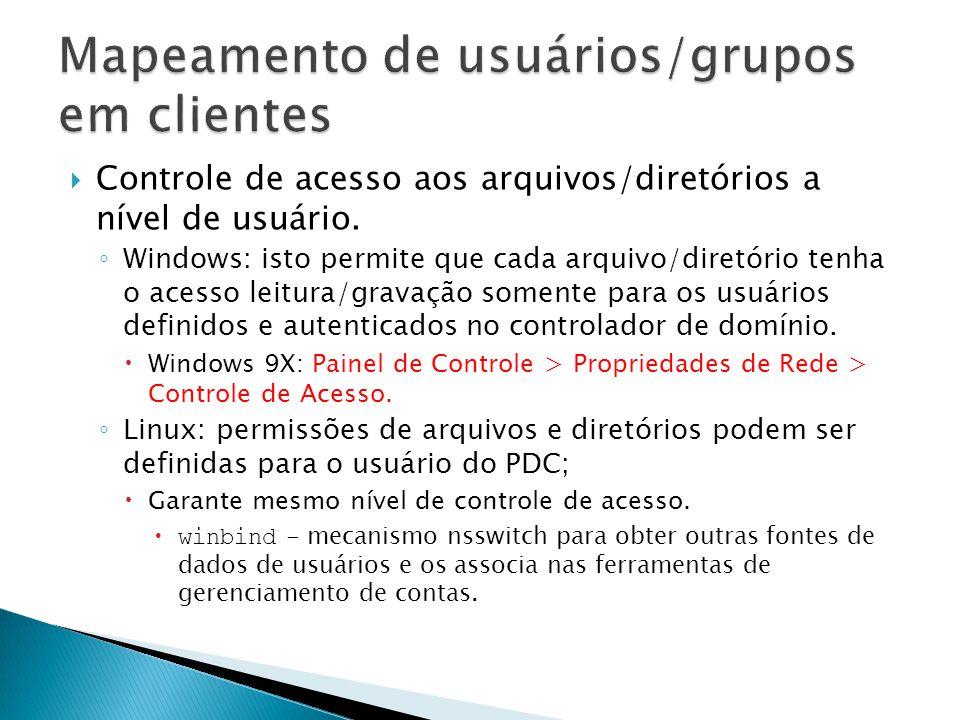Mapeamento de usuários/grupos em clientes