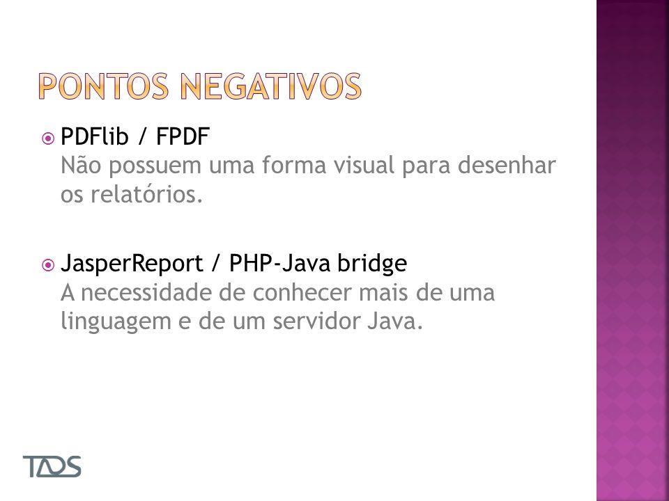 Pontos negativos PDFlib / FPDF Não possuem uma forma visual para desenhar os relatórios.