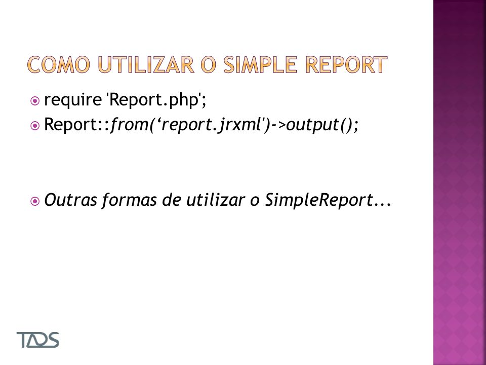Como utilizar o simple report