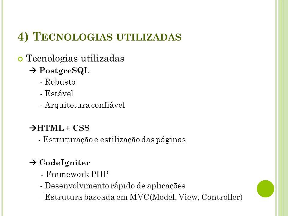 4) Tecnologias utilizadas