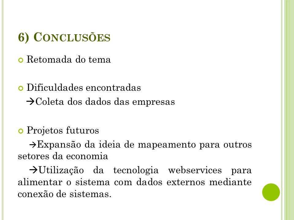6) Conclusões Retomada do tema Dificuldades encontradas