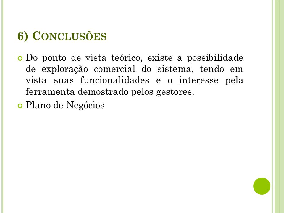 6) Conclusões