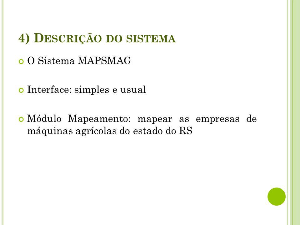 4) Descrição do sistema O Sistema MAPSMAG Interface: simples e usual