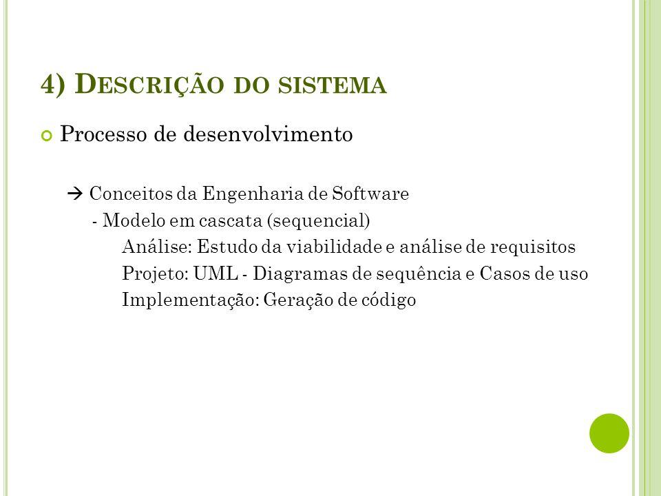 4) Descrição do sistema Processo de desenvolvimento