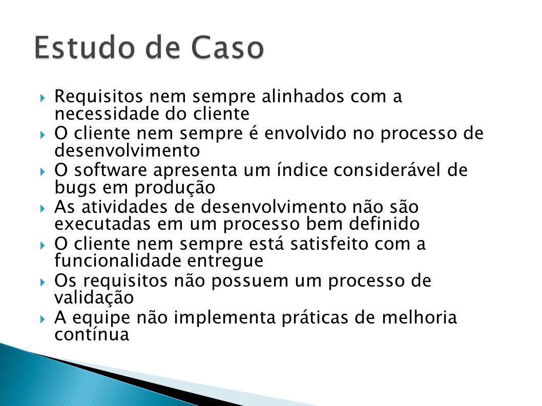 Estudo de Caso Requisitos nem sempre alinhados com a necessidade do cliente. O cliente nem sempre é envolvido no processo de desenvolvimento.