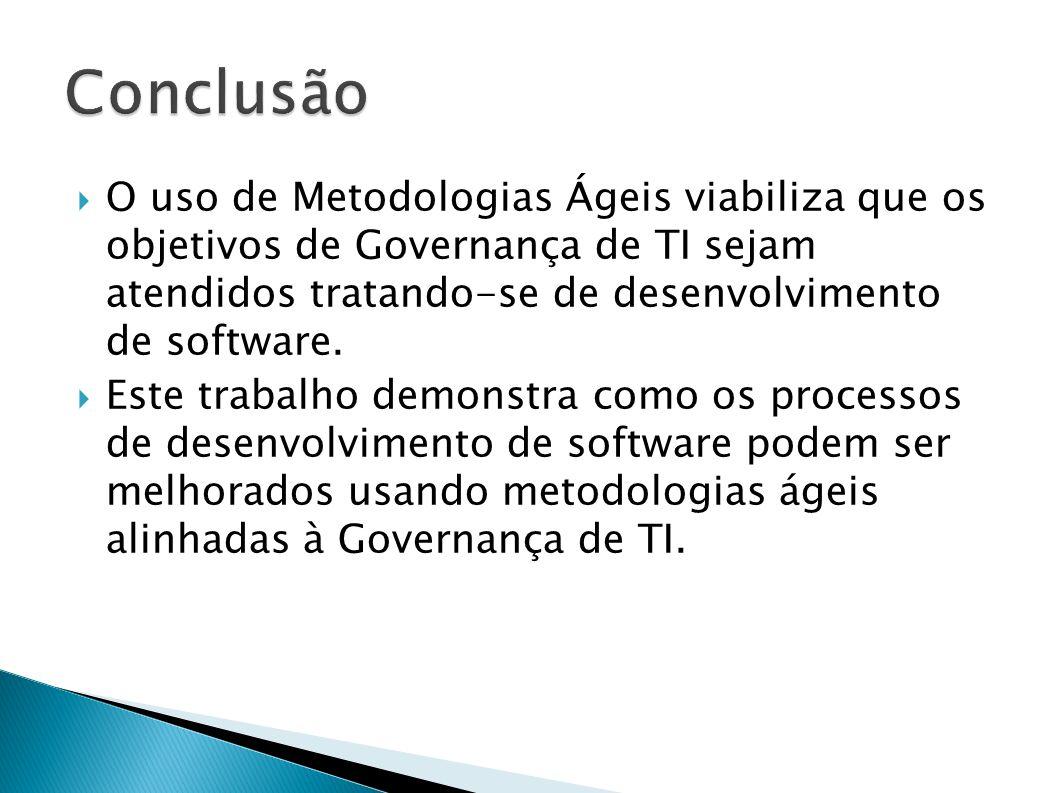 Conclusão O uso de Metodologias Ágeis viabiliza que os objetivos de Governança de TI sejam atendidos tratando-se de desenvolvimento de software.