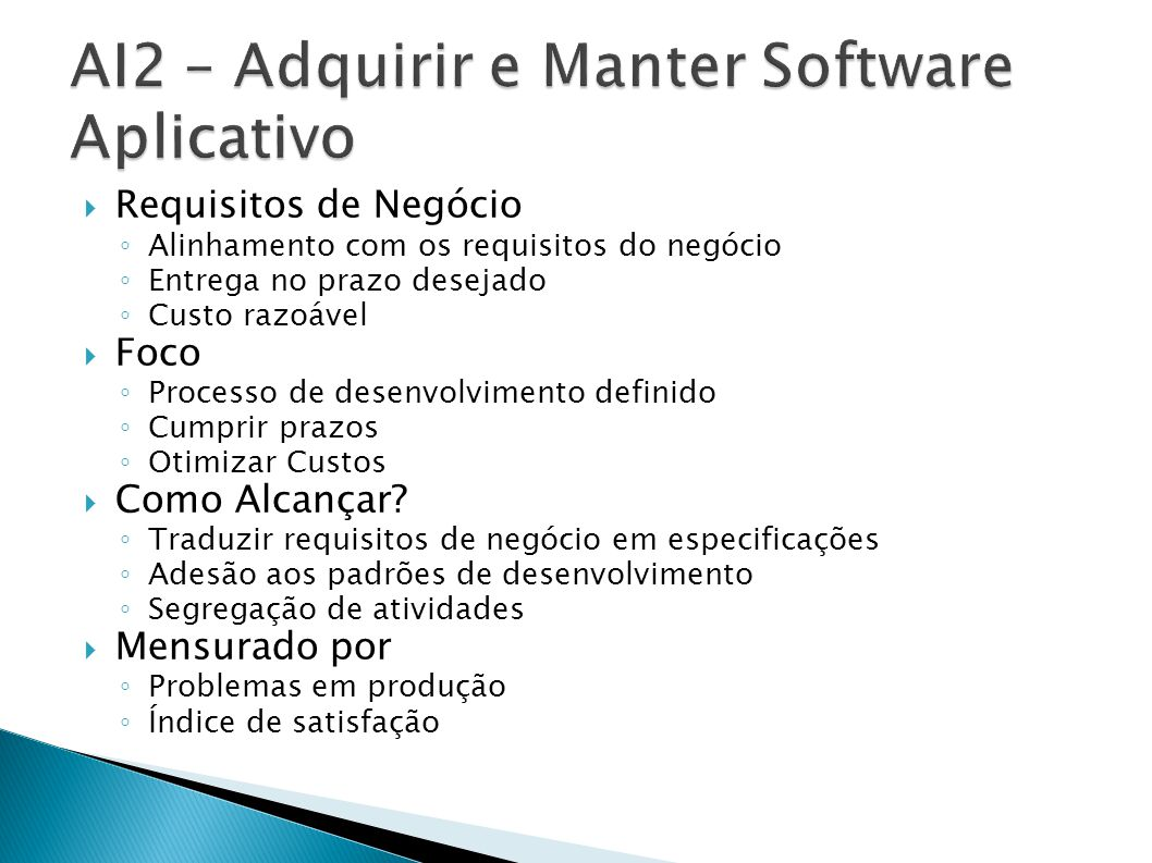 AI2 – Adquirir e Manter Software Aplicativo