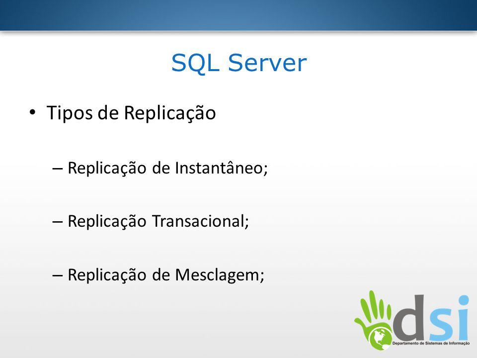 SQL Server Tipos de Replicação Replicação de Instantâneo;
