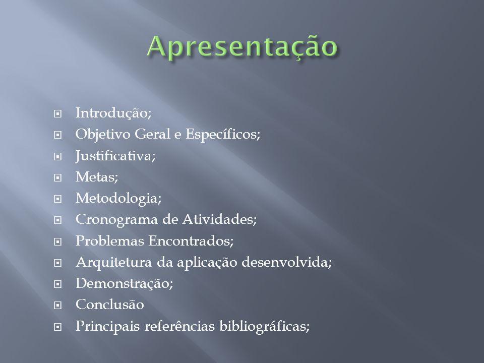Apresentação Introdução; Objetivo Geral e Específicos; Justificativa;