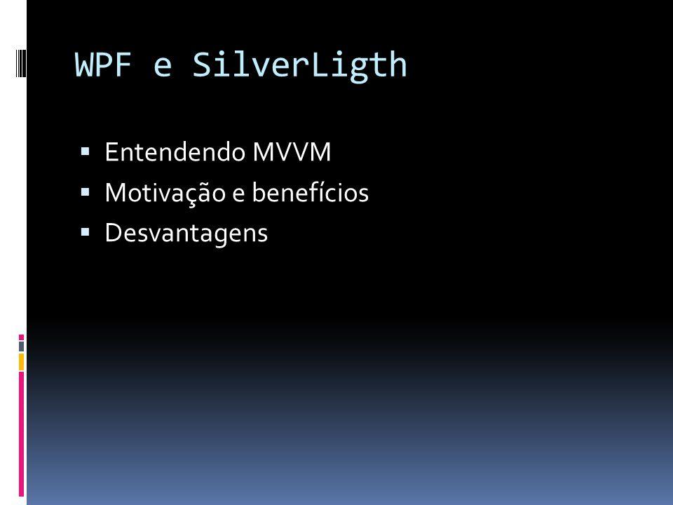 WPF e SilverLigth Entendendo MVVM Motivação e benefícios Desvantagens