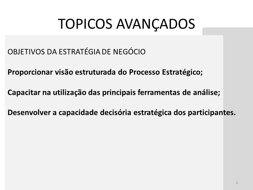 TOPICOS AVANÇADOS OBJETIVOS DA ESTRATÉGIA DE NEGÓCIO