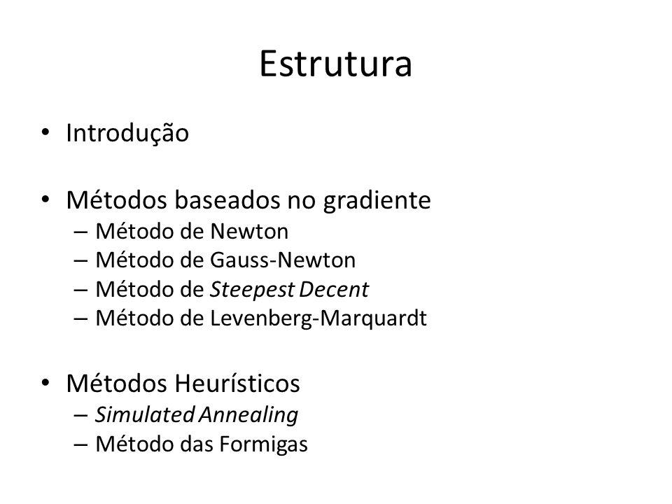 Estrutura Introdução Métodos baseados no gradiente Métodos Heurísticos