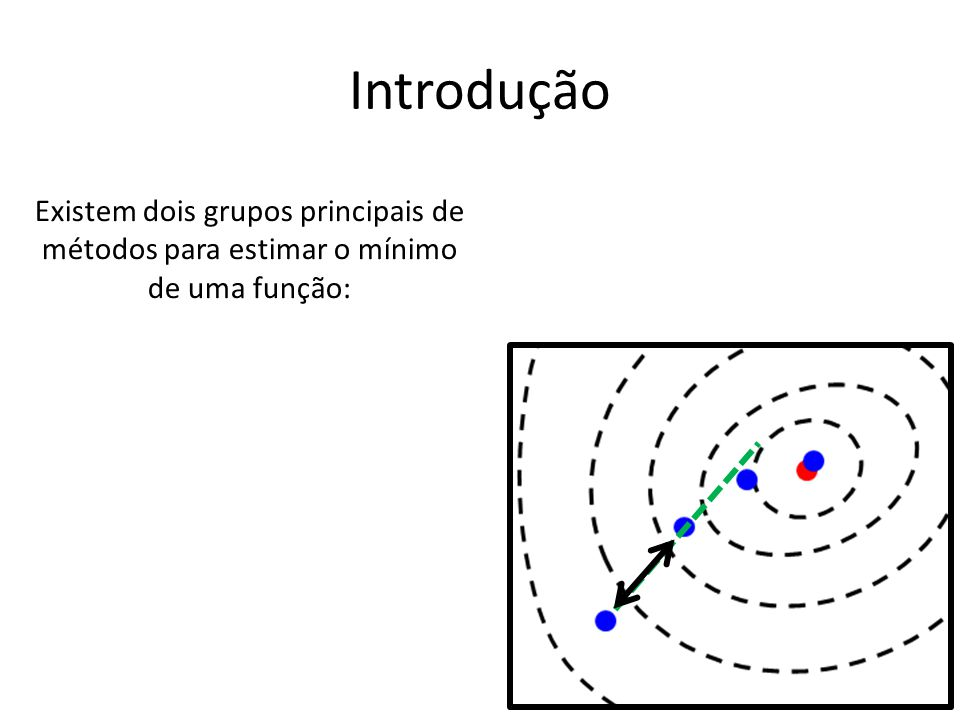 Introdução Existem dois grupos principais de métodos para estimar o mínimo de uma função: