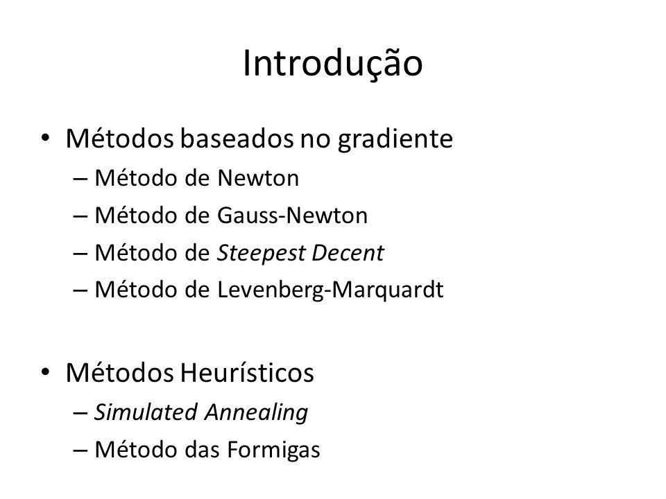 Introdução Métodos baseados no gradiente Métodos Heurísticos