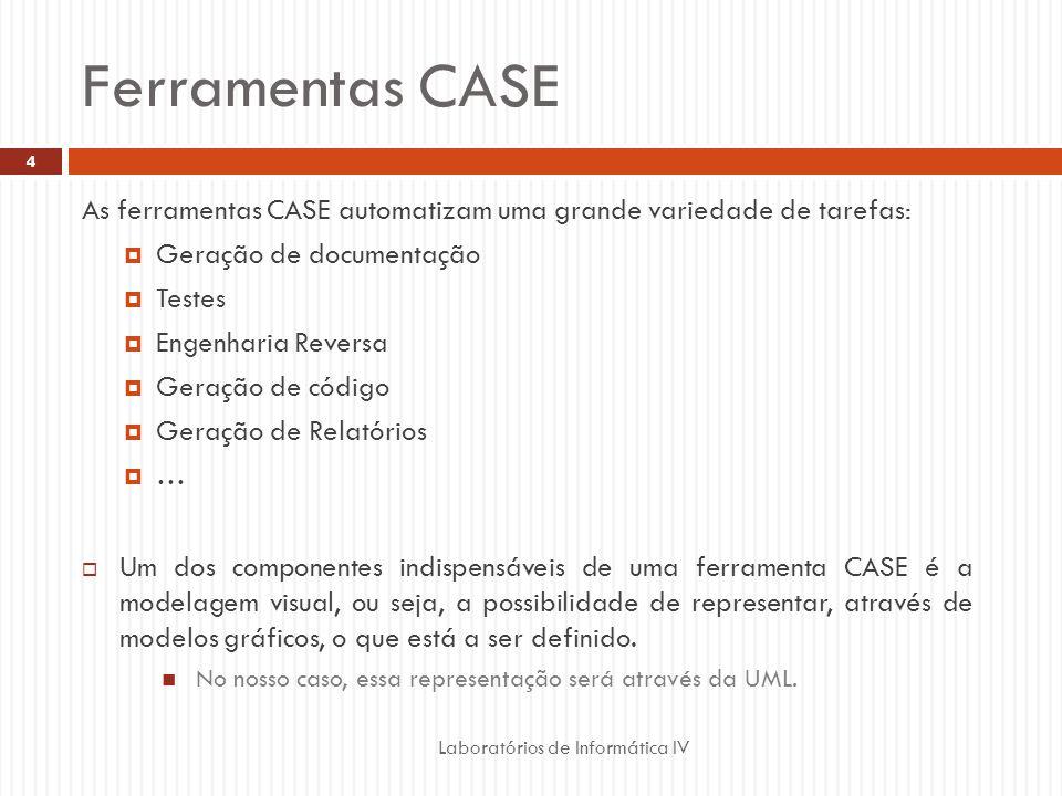 Ferramentas CASE As ferramentas CASE automatizam uma grande variedade de tarefas: Geração de documentação.
